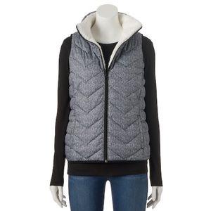 Sherpa Lined Herringbone Puffer Vest